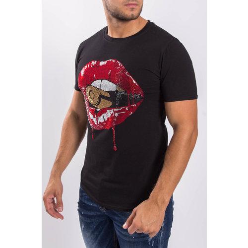 Y T-shirt Lips Black