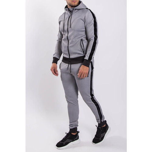 Y Tracksuit Velvet striped Light Grey