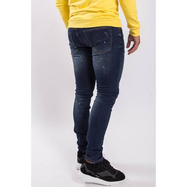 Y Skinny fit stretch jeans Dark blue yellow / white splashes