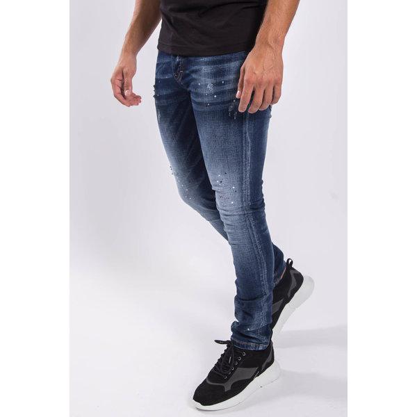 Y Skinny fit stretch jeans Dark Blue red/white splashes