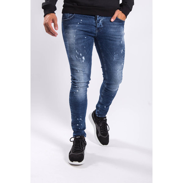 Y Skinny fit stretch jeans Blue washed / splashes