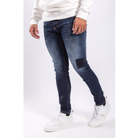 Y Skinny fit stretch jeans Dark blue with red/white splashes