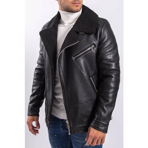 Y Leather look aviator jacket Black on Black