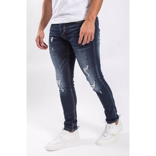 Y Skinny fit stretch jeans Shreds / splashes dark blue
