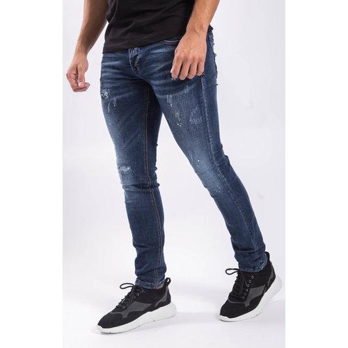 Y Skinny fit stretch jeans slightly destroyed / splashed Dark blue