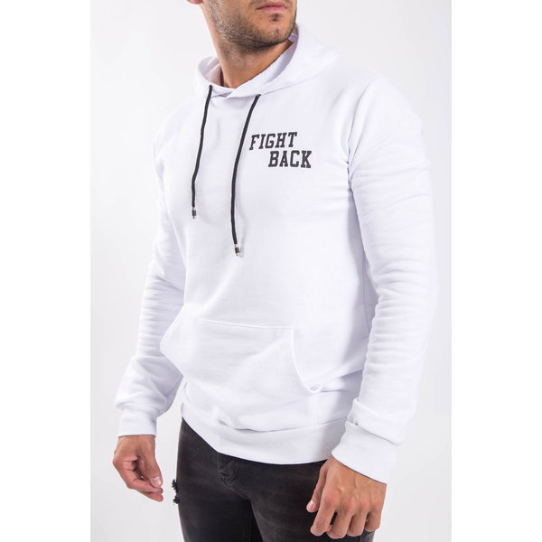 """Y Hoodie """"fight back"""" White"""