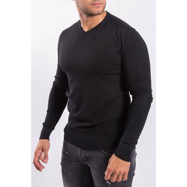 Y Pullover trui V-hals Black