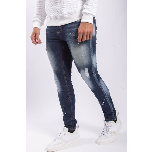 Y Skinny fit stretch jeans Blue yellow splashes