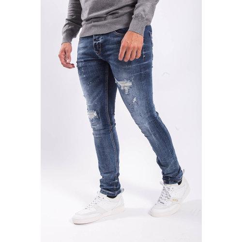 Y Skinny fit stretch jeans Shreds Blue red/white splashes