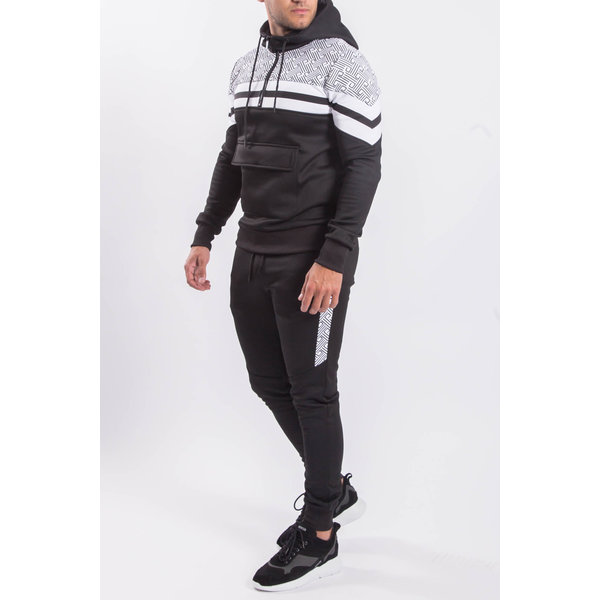 """Y Tracksuit """"patterned"""" Black /  White"""