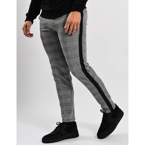 Y Pantalon checkered black striped stretch