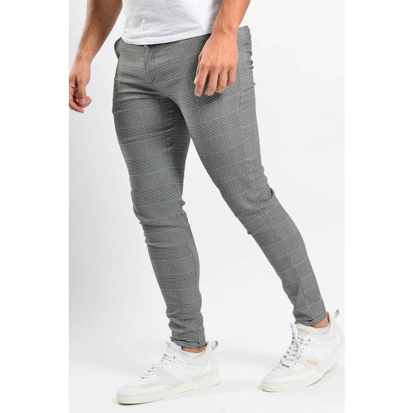 Y Checkered Stretch Pantalon Grey
