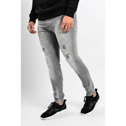 Y Skinny fit stretch jeans Grey with orange / white splashes