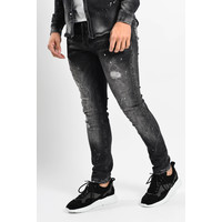 Y Skinny fit stretch jeans Black shreds and splashed