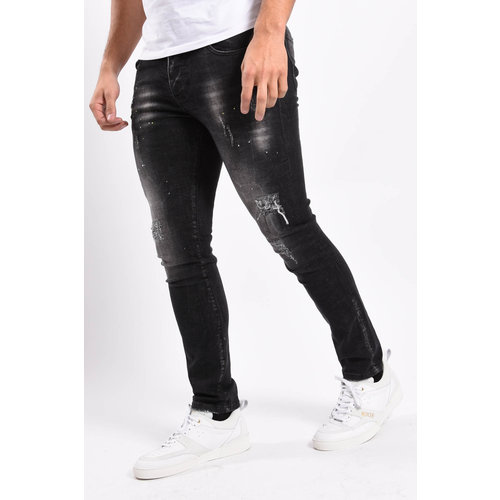Y Skinny fit stretch jeans Dark Grey with yellow/white splashes