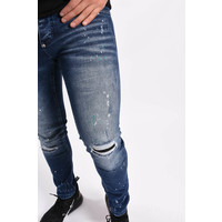 Y Skinny fit stretch jeans Blue with green/white splashes