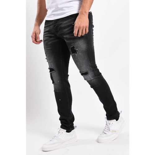 Y Skinny fit stretch jeans Black white splashes