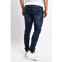 Y Skinny fit stretch jeans Blue with white/yellow splashes