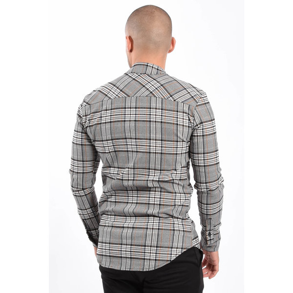 Y Checkered stretch blouse Blue / Brown