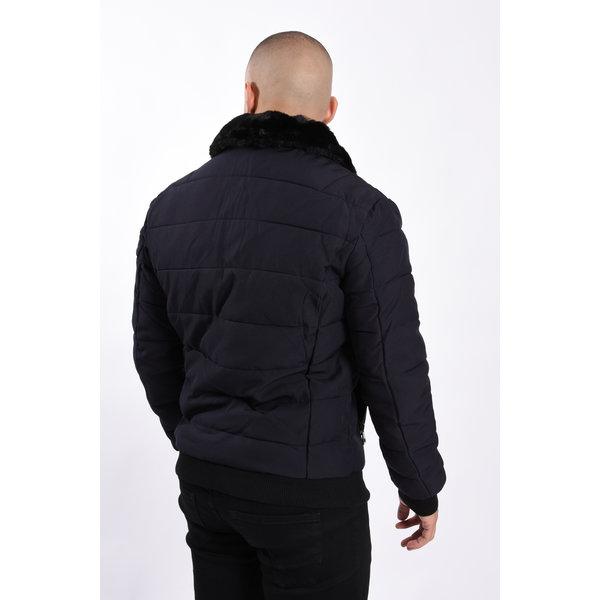 Y Pilot Bomber Jacket Dark Blue with Black Fur