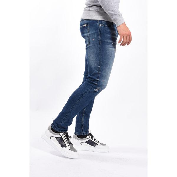 Y Skinny fit stretch Blue with orange/white splashes
