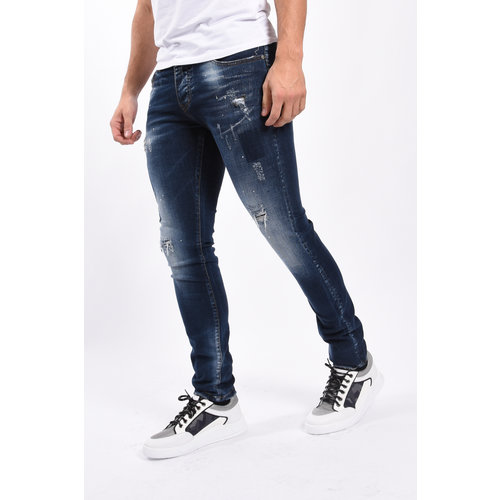 Y Skinny fit stretch jeans Blue washed & blue/white splashes