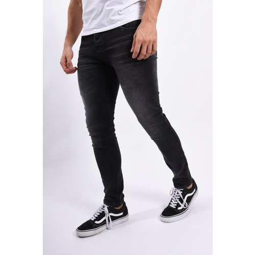 Y Skinny fit stretch jeans Black / red splashes