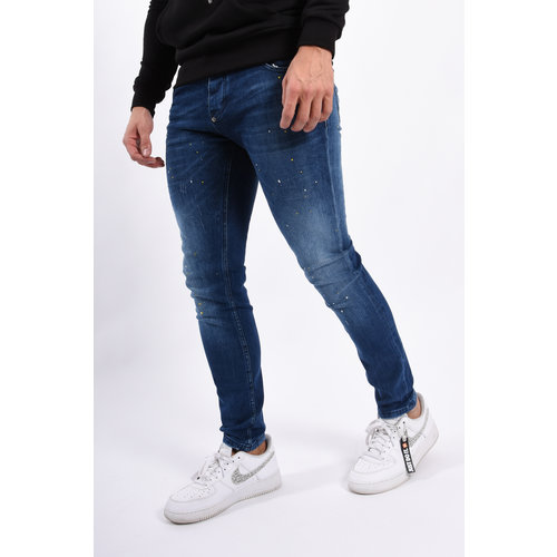 Y Skinny fit stretch jeans Blue / yellow splashes