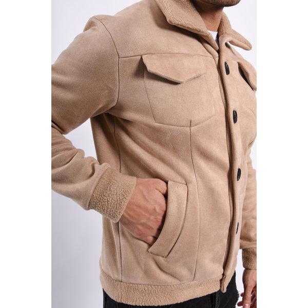 Y Jacket Suede look warm gevoerd Beige