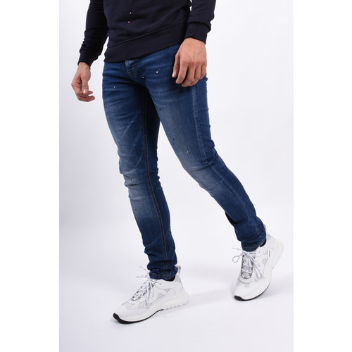 Y Skinny fit stretch jeans Blue with black/white splashes
