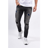 Y Skinny fit stretch jeans Black washed / yellow splashes
