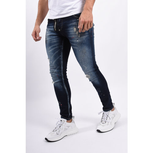Y Skinny fit stretch jeans / zipper Blue with splashes
