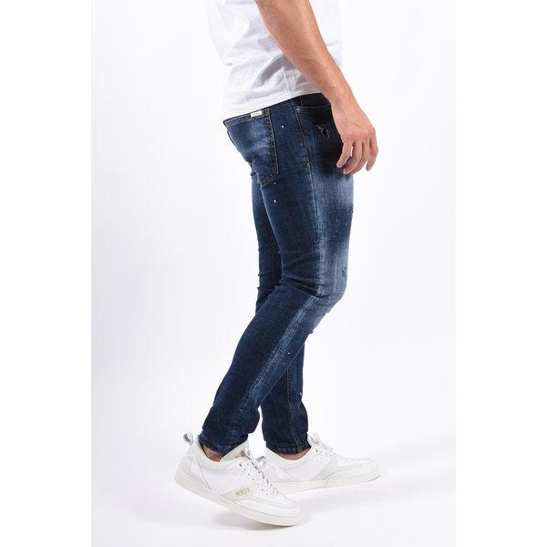 Y Skinny fit stretch jeans Dark Blue with splashes