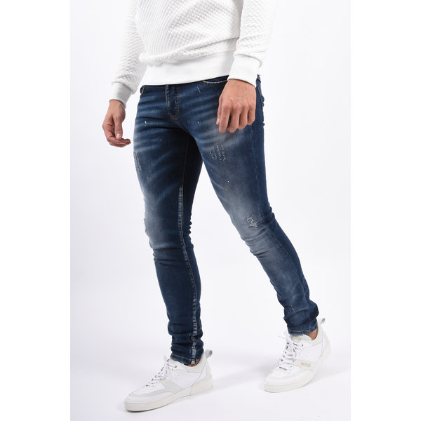 Y Skinny fit stretch jeans Blue with yellow/white splashes