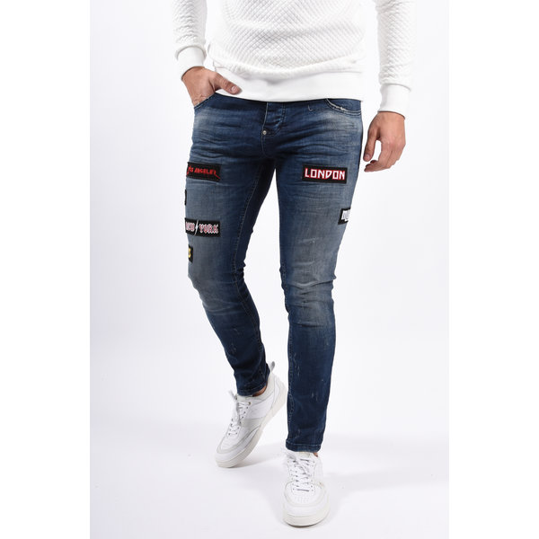 Y Skinny fit stretch jeans Dark blue with patches