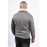 Y Pilot Bomber Jacket / Suede look Grey