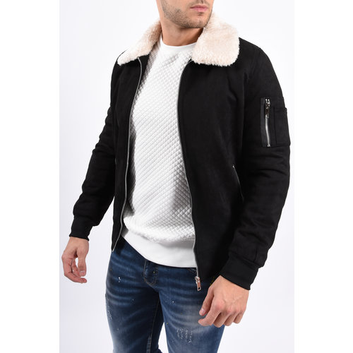 Y Pilot Bomber Jacket / Suede look Black