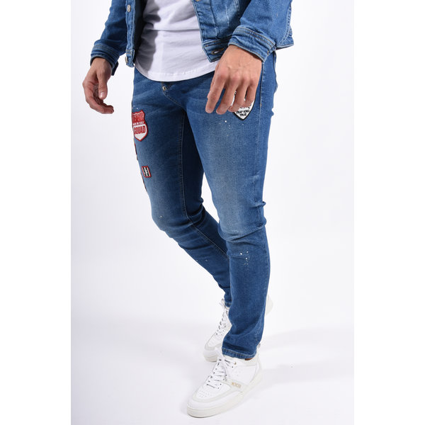 Y Skinny fit stretch jeans Blue with Patches