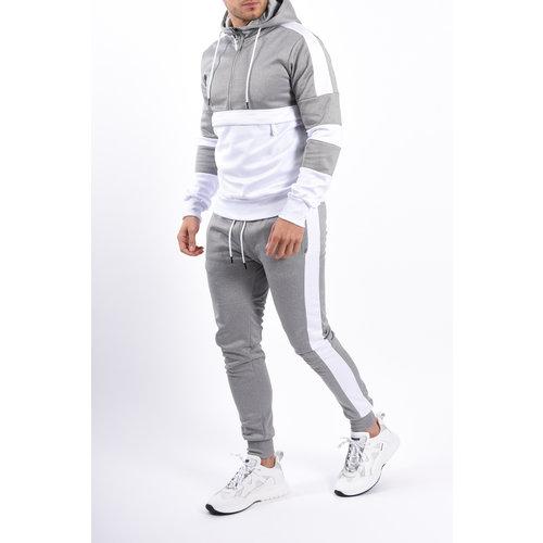 Y YUGO Kangaroo Pocket Tracksuit White / Grey
