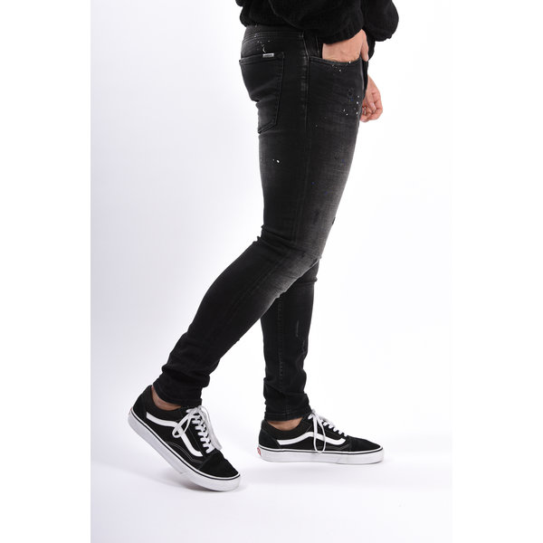 Y Skinny fit stretch jeans Black with Blue/white Splashes
