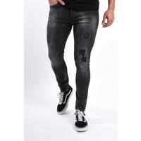 Y Super Skinny fit stretch jeans Black orange/white/blue splashes