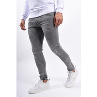 Y Skinny fit stretch jeans Light Grey with splashes