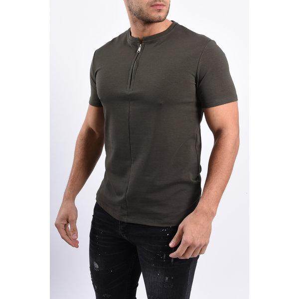 Y T-shirt half zipped Green