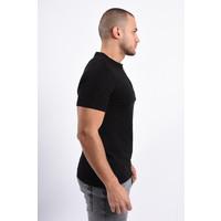 Y T-shirt half zipped Black