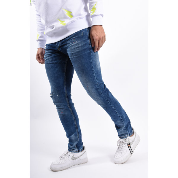 Y Skinny / Slim Fit stretch jeans Blue with red/white splashes