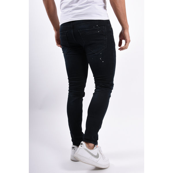 Y UP Skinny fit stretch jeans 246 Dark Blue with splashes