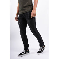 Y Skinny / Slim Fit jeans Black with red/white/green splashes