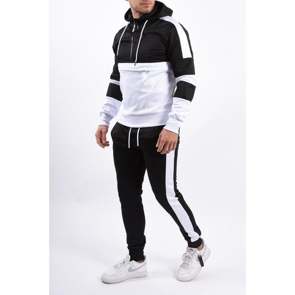 Y YUGO Kangaroo Pocket Tracksuit Black / White