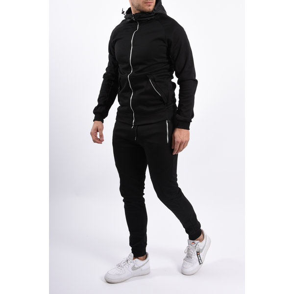 Y YUGO Tracksuit Total Black / Silver zipper