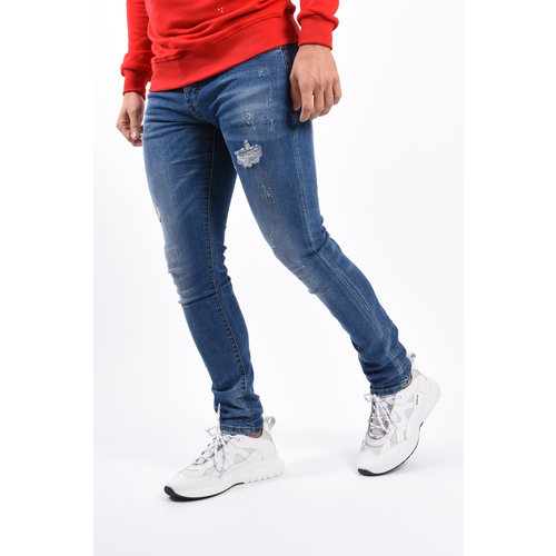 Y Skinny Fit Stretch Jeans Blue With Red splashes